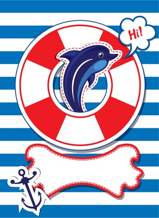 dolphin: Funny Card with dolphin, anchor, lifebuoy and empty frame for text on stripe background