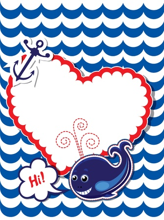 Funny Card with whale, anchor and empty frame for text on stripe background Vector