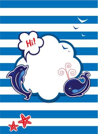 dauphin: Carte drôle avec des dauphins, des baleines et cadre vide pour le texte sur fond de rayure Illustration