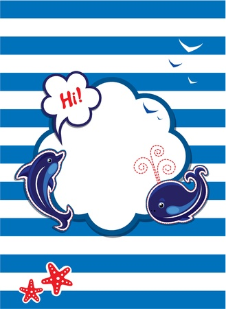 Funny Card with dolphin, whale and empty frame for text  on stripe background Vector