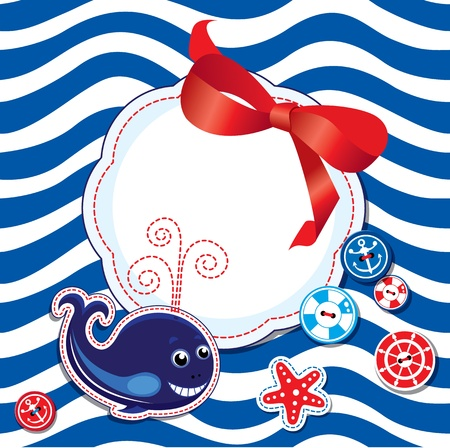 Funny Card with whale, buttons, bow and empty frame for text on stripe background Vector