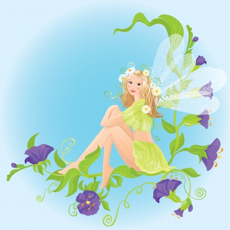 Little cute forest fairy sitting on beautiful wild flowers Vector