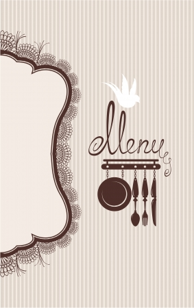 serviette: Restaurant menu design with lace table napkin and hand drawn text on stripe background. Illustration