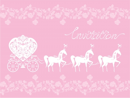 Pink Greeting Card with a lace ornament. Floral Background with white horses and carriage. Invitation - hand drawn text. Vector