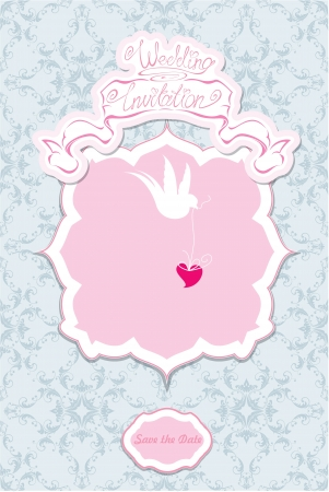 Greeting Card with a lace ornament. Floral Background with white bird and heart in it`s beak. Wedding invitation - hand drawn text. Vector