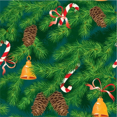 Christmas and New Year background - fir tree texture with xmas accessories - seamless pattern Vector