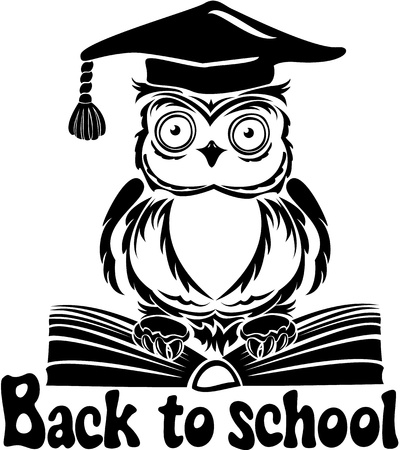 back of head: Decorative bird - owl with graduation cap and book, isolated on white background  Back to school emblem