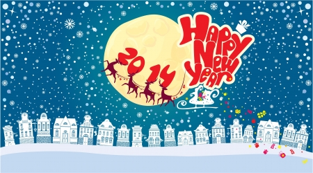 New Year card with flying rein deers on sky background - 2014  Vector