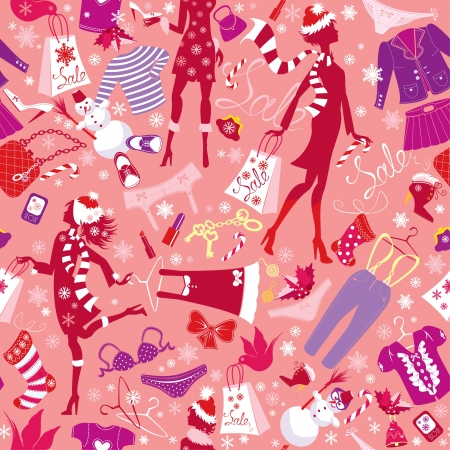christmas perfume: Seamless pattern in pink colors - Silhouettes of fashionable girls with colorful glamor clothes and accessories in Christmas Sale time Illustration