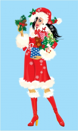 Brunette Christmas Girl wearing Santa Claus suit and carrying christmas presents and gifts Vector