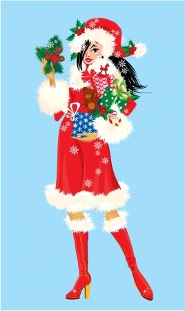 Brunette Fille de Noël portant un costume du Père Noël et transportant des cadeaux de Noël et des cadeaux Banque d'images - 21688586