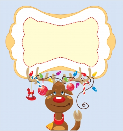 Funny reindeer with christmas lights tangled in antlers with frame for text Vector