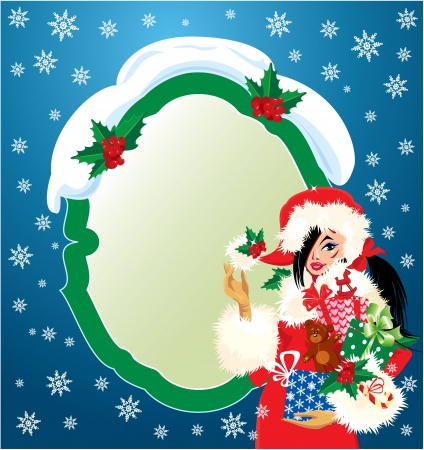 Brunette Christmas Girl wearing Santa Claus suit and carrying christmas presents and gifts on dark blue background with snowflakes  Oval frame for text  Illustration
