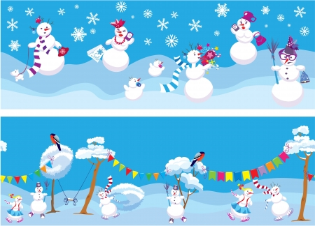 Set of 2 Horizontal seamless backgrounds with cute snowmen for Christmas and New Year Holidays design  Vector