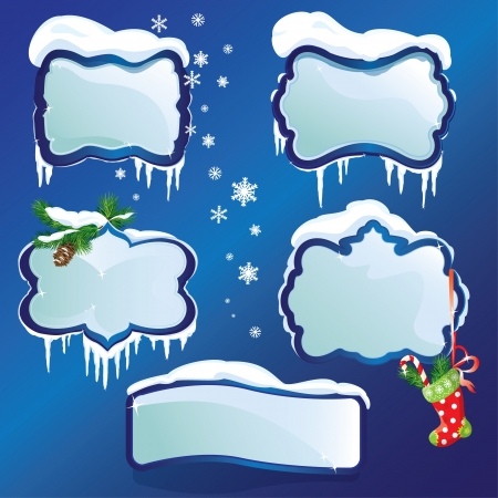 snowdrifts: Collection of glossy winter frames with snowdrifts and icicles
