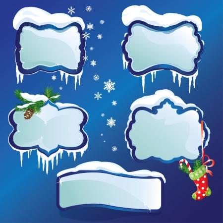 snowdrifts: Raccolta di cornici invernali lucide con cumuli di neve e ghiaccioli