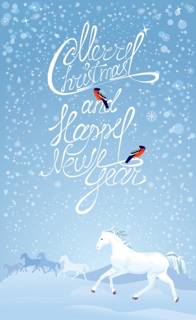 Christmas and New Year holidays card with white horses and bullfinches  Vector