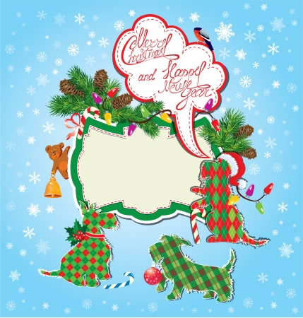 Christmas and New Year holidays card with funny scottish terrier dogs  Illustration