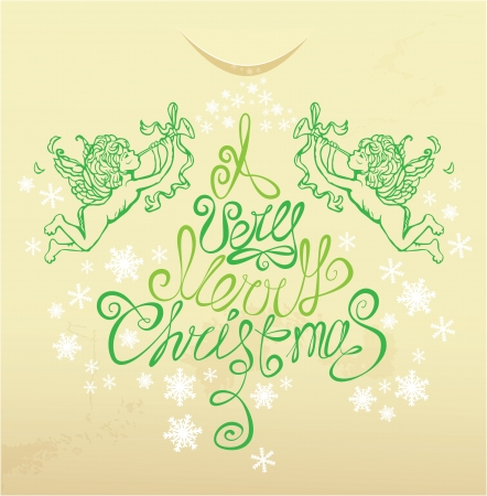Holiday card with  with hand drawn illustration of angels hand written text A very Merry Christmas on beige background  Vector