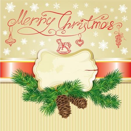 fur tree: Scheda di festa con il ramo di un albero di pelliccia, il telaio e la mano disegnata illustrazione di natale accssesories e scritta a mano del testo Buon Natale