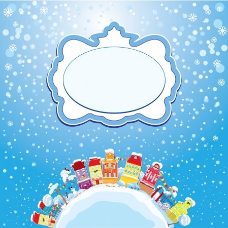 balcony view: Christmas and New Year holidays card with small fairy town on light blue sky background with decorative colorful houses in winter time