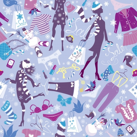 Seamless pattern in pink colors - Silhouettes of fashionable girls with colorful glamor clothes and accessories in Christmas Sale time Vector