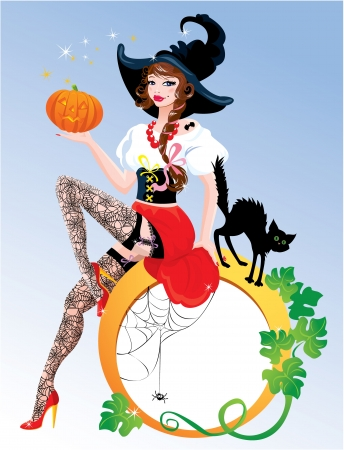 Brunette Pin Up Halloween Girl wearing witch suit and stockings carrying pumpkin with black cat. Round frame for text.  Vector