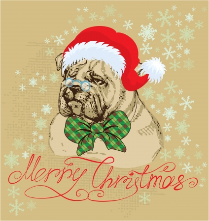 dog tag: Vintage Christmas card - bulldog wearing Santa Claus hat - hand drawn illustration Illustration