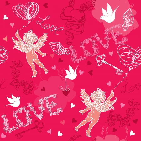 Valentines Day seamless pattern with Cupid, hand drawn hearts, keys and birds on red background. Vector