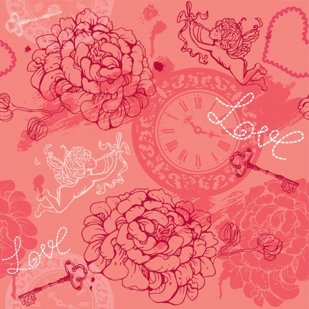 Valentines Day seamless pattern with hand drawn Cupid, flowers, keys and watches on pink background. Vector