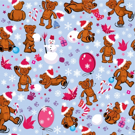 Seamless pattern with teddy bears, snowflakes and Christmas accessories. Holidays winter background. Vector