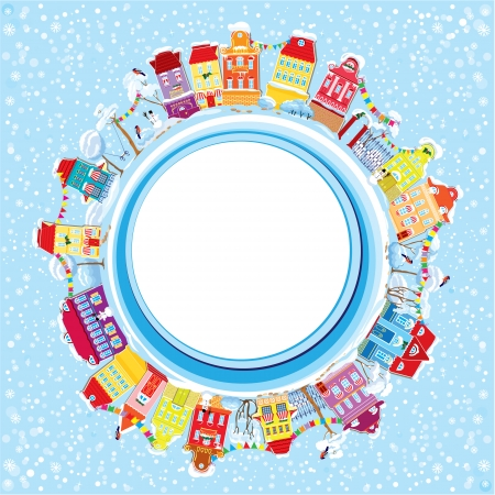 balcony view: Abstract round banner with small fairy town on light blue sky background with decorative colorful houses in winter time. Christmas and New Year holidays card.