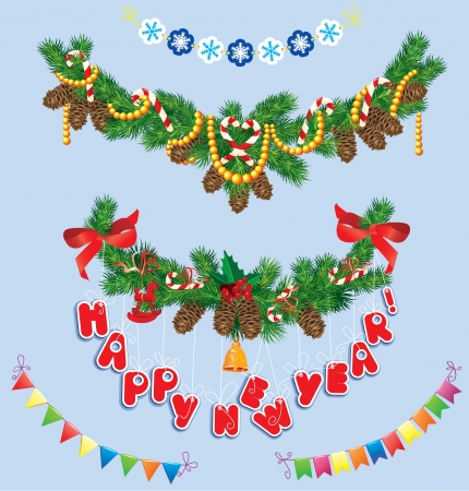 new year border: Set of Christmas and New Year garlands with horse toy, bell, bows, ribbons, sweets, candies.