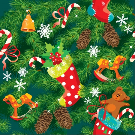 X-mas and New Year background with Christmas accessories, stockings, sweets, horse and teddy bear toys and fir tree branches. Seamless pattern for holiday design.  Vector