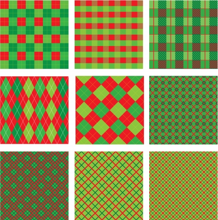 Set of Christmas and New Year plaid seamless patterns in red and green colors Vector