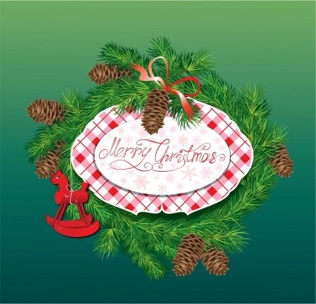 Christmas and New Year background - fir tree branches, pine cones and horse toy - oval frame. Vector
