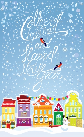 winter time: Christmas and New Year holidays card with small fairy town on light blue sky background with decorative colorful houses in winter time.
