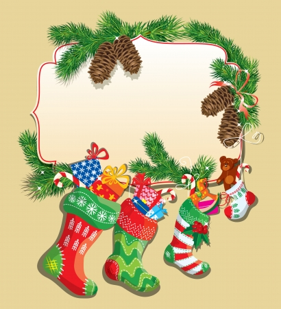 X-mas and New Year card with family Christmas stockings. Frame with empty space for text. Vector
