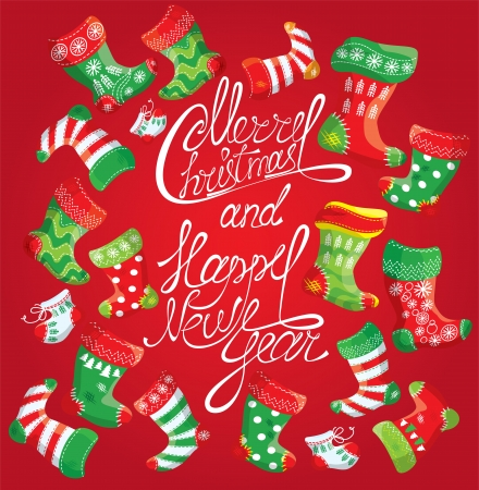 vector x mas and new year card with family christmas stockings