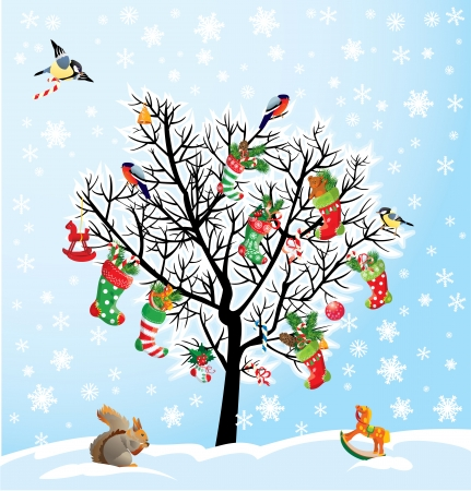Winter tree with birds, squirrel, Xmas shoes, candies and presents. Christmas and New Year card. Vector