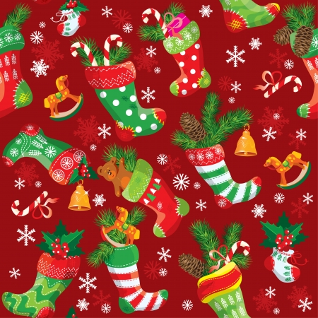 X-mas and New Year background with Christmas stockings. Seamless pattern for holiday design. Vector