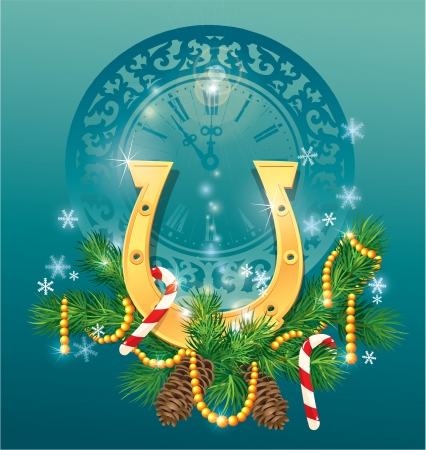 christmas and new year background with golden horse shoe - symbol 2014. Vector