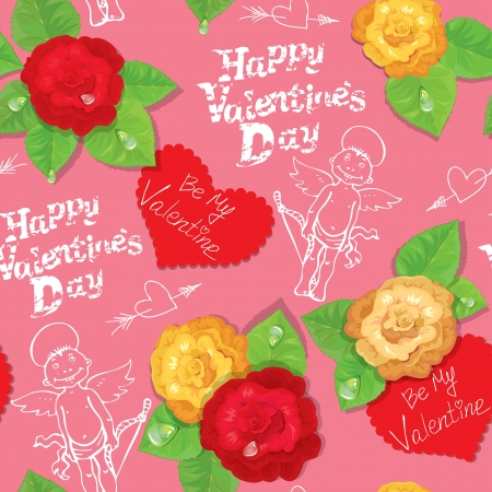 eros: Valentines Day seamless pattern with hand drawn angels, hearts and roses on pink background Illustration