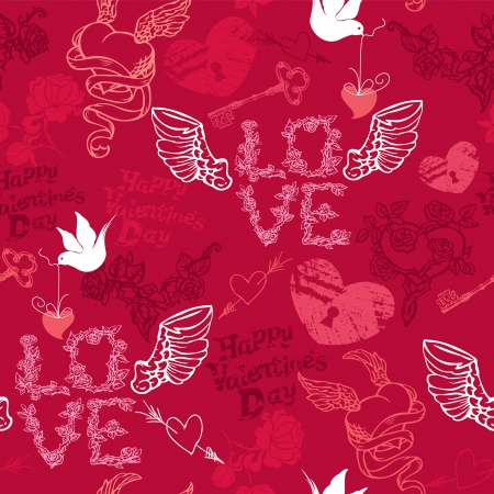 eros: Valentines Day seamless pattern with hand drawn hearts, keys and birds on red background.