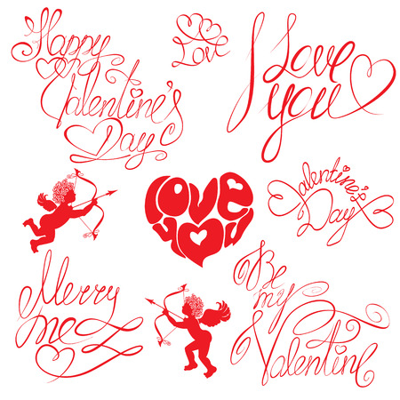 me: Set of hand written text: Happy Valentine`s Day, I love you, Merry me , etc. Calligraphy elements for holidays or wedding design  in vintage style.