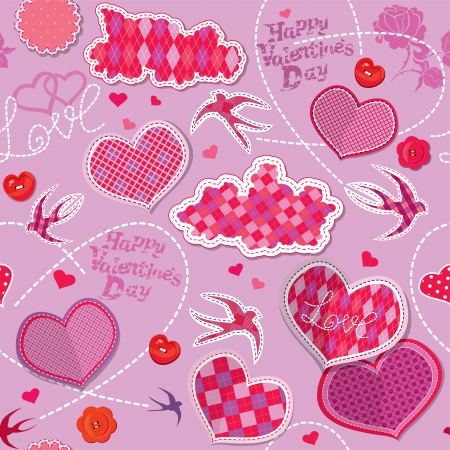 Valentines Day seamless pattern with hearts, clouds and birds are made of checkered fabric on purple background Vector