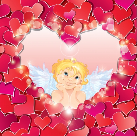 Cute angel in the heart shape frame edged of red paper hearts confetti. Valentines Day card design.  Vector