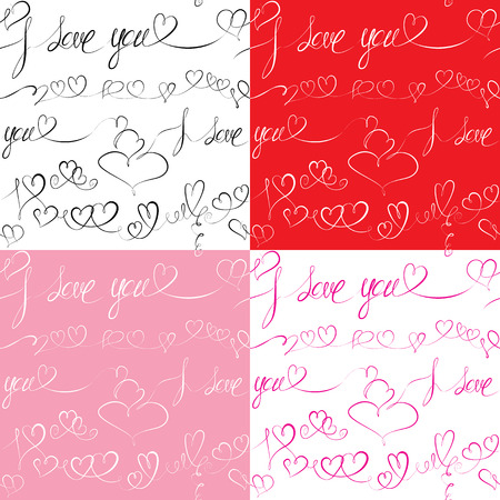 Set of Seamless patterns with hand drawn hearts and text: I love you. Valentines day or Wedding backgrounds. Vector