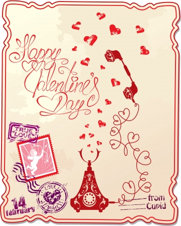 written text: Holiday card with hand written text Happy Valentine`s Day with retro telephone, hearts and stamp in vintage style.  Illustration