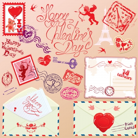 Collection of love mail design elements - stamps, envelops, postcard - Valentine`s Day or Wedding postage set. Vector